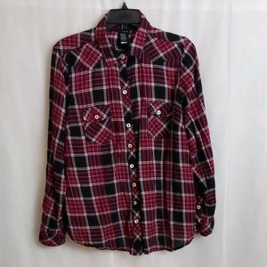 TORRID Red Black Plaid Long Sleeve Button Up